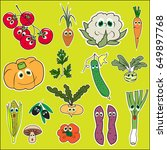 set of vegetables with eyes.... | Shutterstock .eps vector #649897768