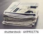 stack of newspaper on wooden... | Shutterstock . vector #649901776