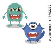 happy cartoon monster. vector... | Shutterstock .eps vector #649902232