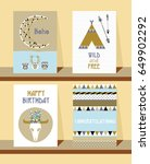 set of cards in boho style.... | Shutterstock .eps vector #649902292