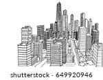 new york skyline. black and... | Shutterstock .eps vector #649920946