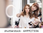 closeup hairdresser makes... | Shutterstock . vector #649927336