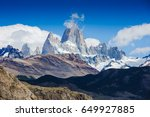 majestic fitz roy moutain ... | Shutterstock . vector #649927885