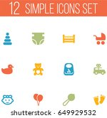 set of 12 baby icons set... | Shutterstock .eps vector #649929532