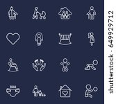 set of 16 family outline icons... | Shutterstock .eps vector #649929712