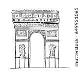 arc de triomphe  paris. hand... | Shutterstock .eps vector #649931065