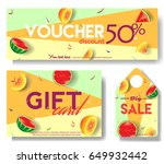 discount voucher template with... | Shutterstock .eps vector #649932442