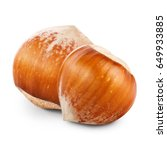 two nuts filberts on white... | Shutterstock . vector #649933885