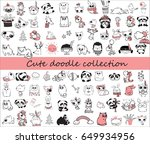 cute doodle collection. simple... | Shutterstock .eps vector #649934956