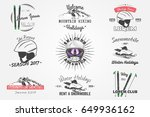set ski club team. mountain and ... | Shutterstock . vector #649936162