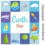 earth day poster with rain and... | Shutterstock .eps vector #649941952