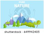 pure nature with green trees... | Shutterstock .eps vector #649942405
