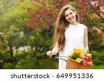 young smiling girl standing... | Shutterstock . vector #649951336