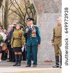speech by a war veteran with... | Shutterstock . vector #649973938