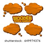 set of wooden speech bubbles...