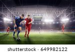 soccer players at 3d sport... | Shutterstock . vector #649982122