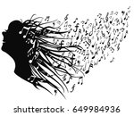 woman head with music notes | Shutterstock .eps vector #649984936