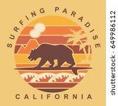 surf california typography  tee ... | Shutterstock .eps vector #649986112