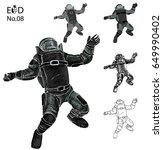 bomb disposal expert cartoon... | Shutterstock .eps vector #649990402