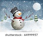 Snowman In A Full Moon Night...