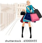 beauty woman on shopping in the ... | Shutterstock .eps vector #65000455