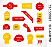 vector stickers  price tag ... | Shutterstock .eps vector #650007052