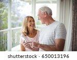 happy senior couple interacting ... | Shutterstock . vector #650013196