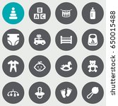 set of 16 baby icons set... | Shutterstock .eps vector #650015488