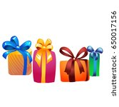 colorful gift boxes flat icon... | Shutterstock .eps vector #650017156