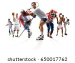 Small photo of Sport collage boxing soccer american football basketball baseball ice hockey etc