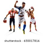 Small photo of Multi sport collage soccer american football boxing