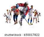 sport collage boxing soccer... | Shutterstock . vector #650017822