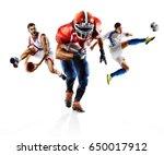 multi sport collage soccer... | Shutterstock . vector #650017912