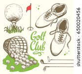 golf set with basket  shoes ... | Shutterstock .eps vector #650020456