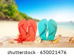 tropical beach with colored... | Shutterstock . vector #650021476