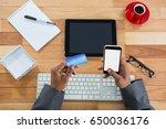 hand of businessman doing... | Shutterstock . vector #650036176