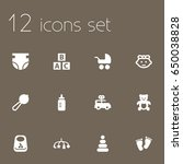 set of 12 baby icons set... | Shutterstock .eps vector #650038828