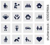 set of 16 family icons set... | Shutterstock .eps vector #650039866