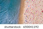 tropical beach with colorful... | Shutterstock . vector #650041192