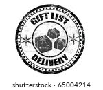 Black grunge rubber stamp with gifts shape and the text Gift list delivery written inside the stamp - stock vector