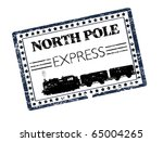 Black grunge rubber stamp with train silhouette and the text North Pole Express written inside the stamp - more available - stock vector