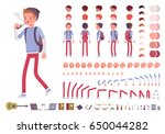 teenager boy with backpack.... | Shutterstock .eps vector #650044282