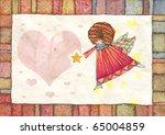 christmas angel greeting card... | Shutterstock . vector #65004859