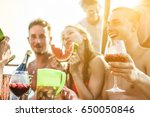 happy friends drinking sangria... | Shutterstock . vector #650050846