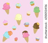 pattern of ice cream and cupcake | Shutterstock .eps vector #650053456