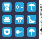 protect icon. set of 9 filled... | Shutterstock .eps vector #650057326