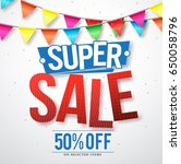 supper sale vector design with... | Shutterstock .eps vector #650058796