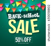 back to school sale vector... | Shutterstock .eps vector #650058802