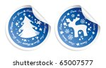 Vector New Year stickers - stock vector