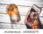 whiskey bottle and whiskey... | Shutterstock . vector #650083075